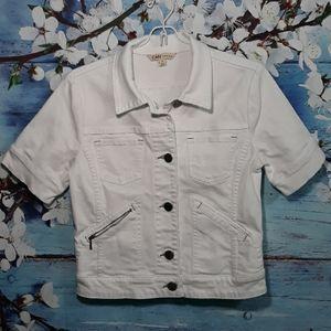 Cabi Denim White Jacket  |  Size S